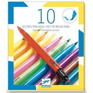 Arts - 10 brush felt tip pens (dj08799)